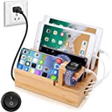 OthoKing Charging Station Organizer,Fast Charging Station for Multiple Device 5-Port USB Bamboo Wood Charging Dock,Universal