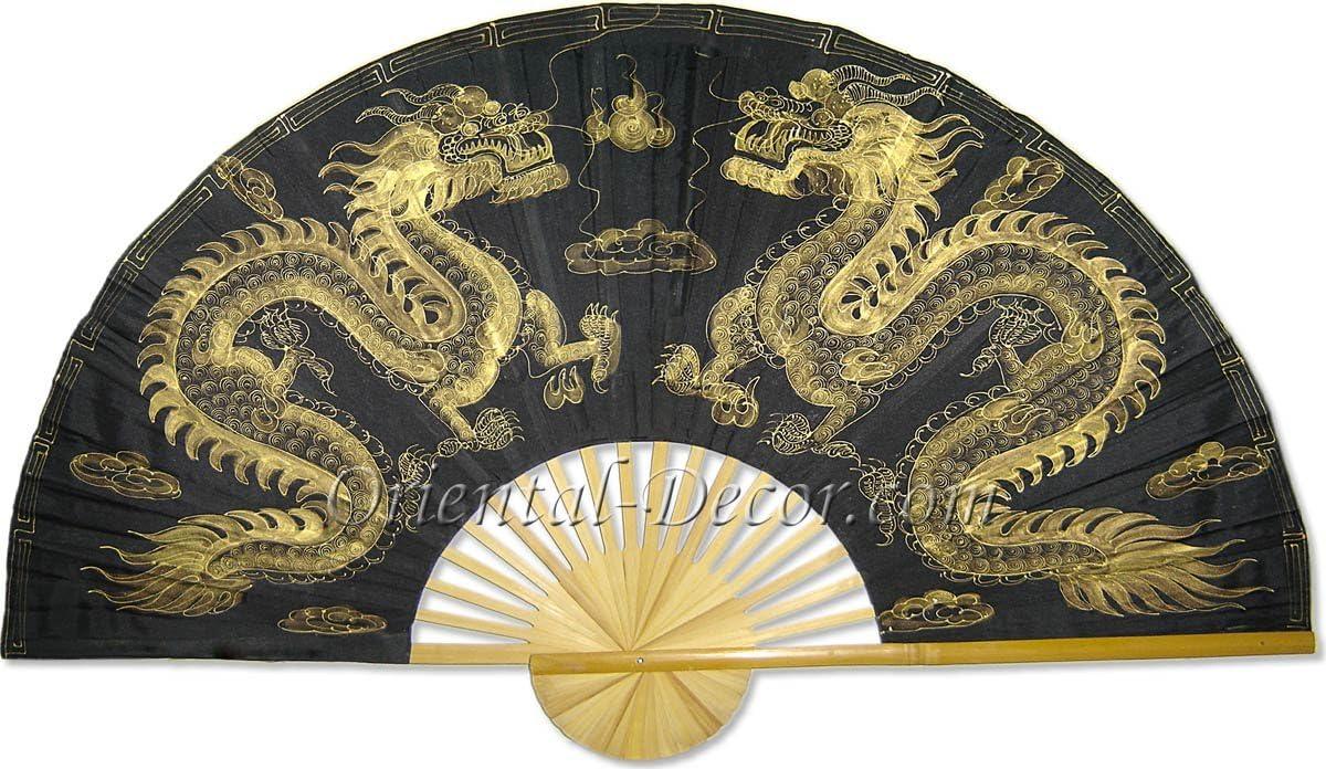 "Medium 40"" Folding Wall Fan -- Golden Dragons -- Original Hand-painted"