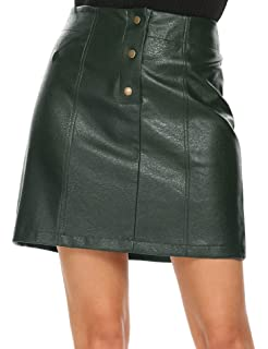 Mofavor Women s Faux Leather Skirts High Waist Button Front A Line Short  Mini Skirt f50ad1fd2