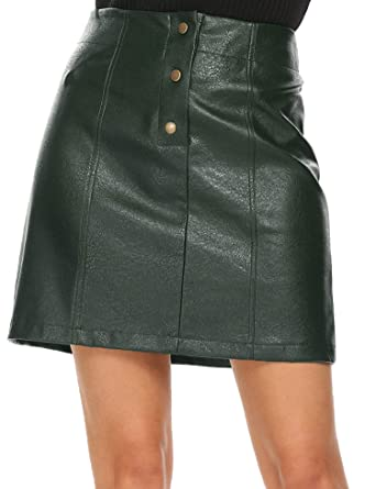 ef178bc25d Mofavor Women's Leather Skirts High Waist Button Front A Line Short Mini  Skirt at Amazon Women's Clothing store: