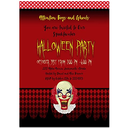 amazon com scary clown halloween party invitations handmade
