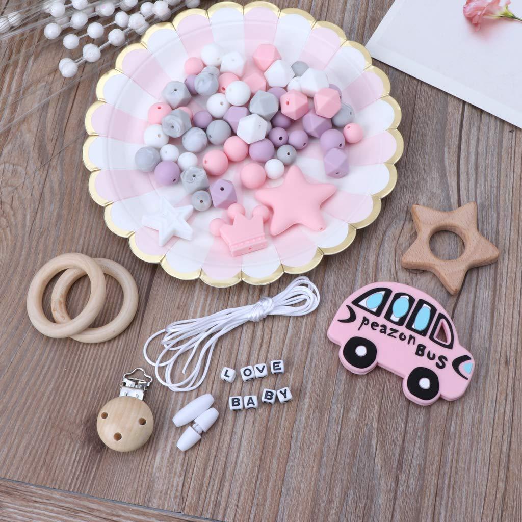 Lunji 1Set DIY Collier Allaitement Bio Attache Sucette Bebe Anneau de Dentition Perle Teether Toy 1#