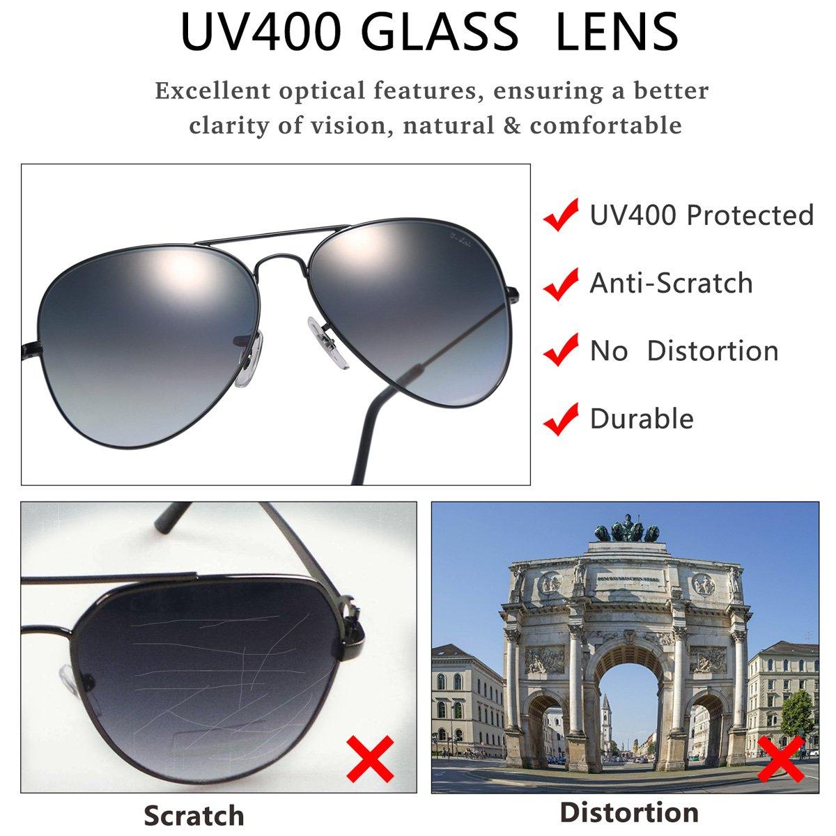 O-LET Aviator Sunglasses for Men Women Driving Fishing Glass Lens Aviators UV400 (62mm, Black Frame/aGrey Gradient Lens) by O-LET (Image #2)