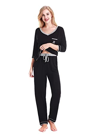 NORA TWIPS Women s Long Pajamas Loungewear Long Sleeved V-Neck PJ ... 29e035d10