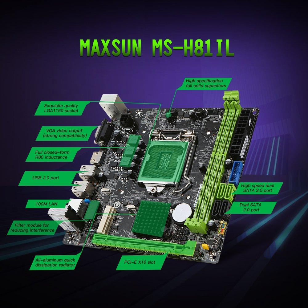KKmoon MAXSUN MS-H81IL M.2 for Intel H81 LGA 1150 Socket Desktop Computer Mainboard Motherboard SATA 6Gb/s USB 2.0 Games DDR3 Intel LGA1150 Mini-ITX by KKmoon (Image #4)