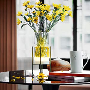Glass Vase for Decor, Vase Set for Flowers Plants , Decorative Vase with Timer LED Lights Battery Operated Clear Vase, Home Decor for Tabletop Centerpiece Wedding Party Gift, Set of 2 (Golden Stand)