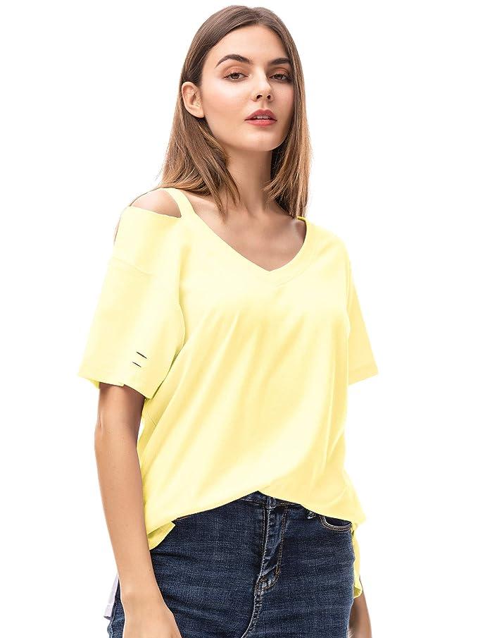 MessBebe Camisetas Mujer Manga Corta Camisas Mujer T Shirt Polo Off Shoulder Blusas Verano V Cuello Top Camisetas de Deporte Mujer Hombro Frío...