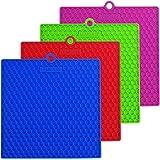 "LEMCASE Silicone Pot Holder Trivet Mat (7"" x 7"", Set of 4, Square) Multipurpose Heat Resistance Hot Pad - Red, Blue, Green, Purple"