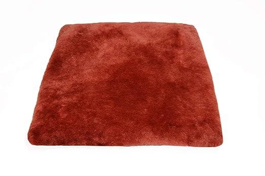 Cojín para sentarse piel de cordero EL LUJO rojo (Manta para ...