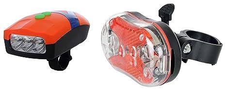 Dark Horse Bicycle 3 LED 3 Mode Front Light  amp; Horn  amp; Super Bright LED Tail Light Combo Lights   Reflectors