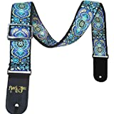 Dr.Music Woven Guitar Strap for Acoustic and Electric Bass Guitar with Pick Pocket, Leather Ends, Include Guitar Picks (Blue)