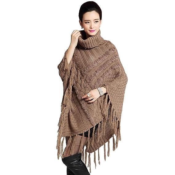 Pullover Mujer Invierno Chal Elegantes Vintage Abrigos Mode De Marca Unicolor Asimetricos Irregular Tassel Cuello Alto Capa Outerwear (Color : Braun, ...
