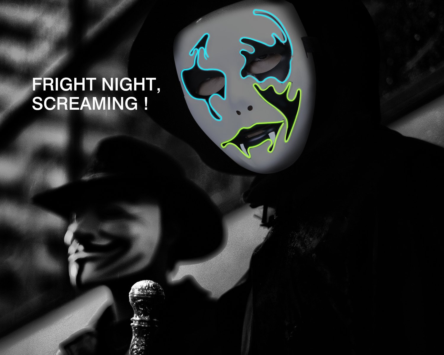 Zooawa LED Mask Halloween Decorative Hacker Masks Cosplay Costume Vendetta Guy Fawkes Light up for Party Festival Favor
