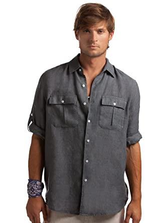 ee42e955688e6 Island Company Gunpowder Linen Pilot Shirt at Amazon Men s Clothing ...
