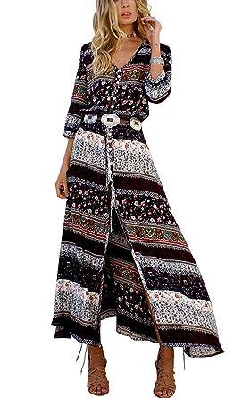 f3c8a93ae83f Yavero Boho Maxikleid Blumen Lange Sommerkleider Damen Maxi Strandkleid  Casual Langarm V-ausschnitt Kleid Schwarz