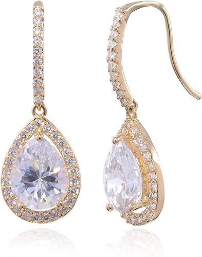 Rhinestone Clear Dangle With 3 Stones Wedding Bridal Earrings