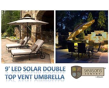 Perfect 9u0027 LED Solar Market Double Top Vent Umbrella With 52 White LED Lights U0026