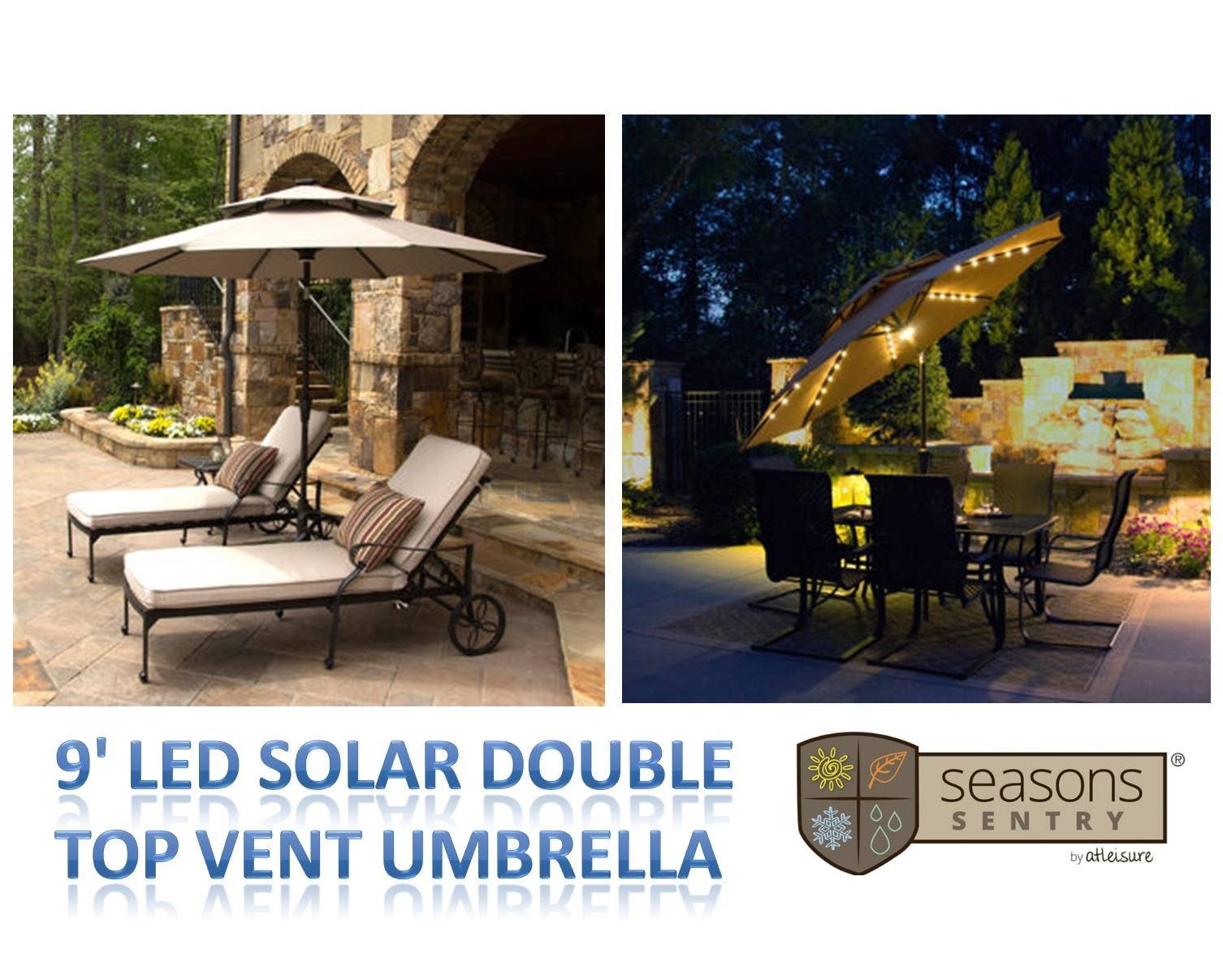 9' LED Solar Market Double-Top Vent Umbrella with 52 White LED Lights & Rechargeable Solar Panel ~ TAUPE by Sunbrella