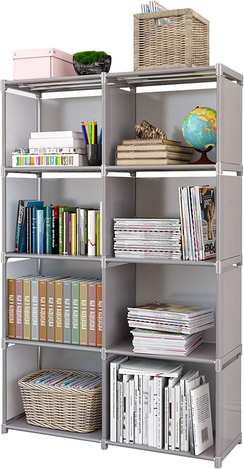 Rerii Closet Storage, Bedroom Storage, Cube Organizer Standing Shelf, Small  Bookcase Bookshelf for Bedroom, Living Room, Office, 11 Tier