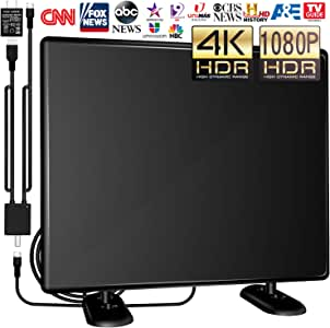 [Upgraded 2020] Amplified TV Antenna Indoor/Outdoor -120Miles Ultra Digital HDTV Antenna with Amplifier TV Free Signals High Reception Signals Booster for All Old TVs 4K/1080P/VHF/UHF Channels 16ft