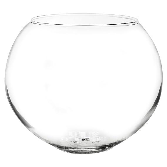 Cuenco de cristal redondo para usar como jarrón, pecera, centro de mesas en bodas o para velas flotantes, vidrio, Medium