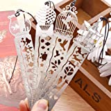 URlighting Bookmark Ruler Set (4Pcs) Stainless Steel Cute Hollow Drawing Template Painting Stencils for Art Craft / DIY Album / Bullet Journal / Diary, Great Gift for Kids Student, Reader and Writer