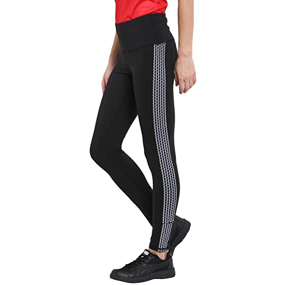 b235fbc752d669 CHKOKKO Women's Polyester Printed Slim Fit Polka Dot High Waist Legging ( Black, ...