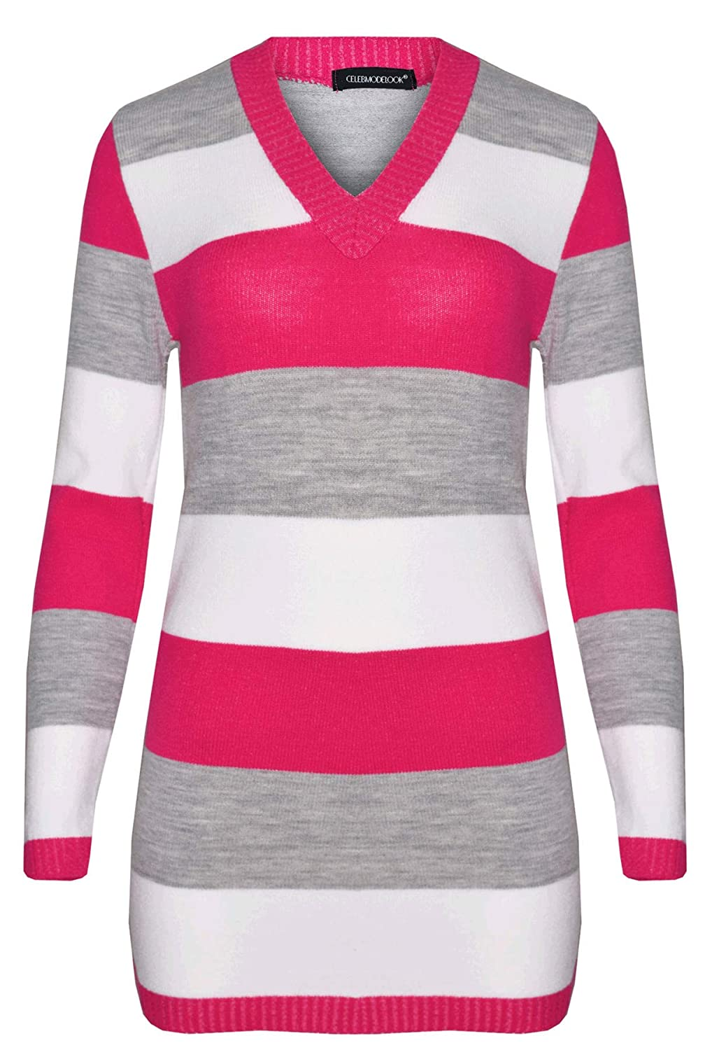 CELEB LOOK N38 New Womens Celebmodelook Ladies Full Length Striped V-Neck Knitted Jumper Dress
