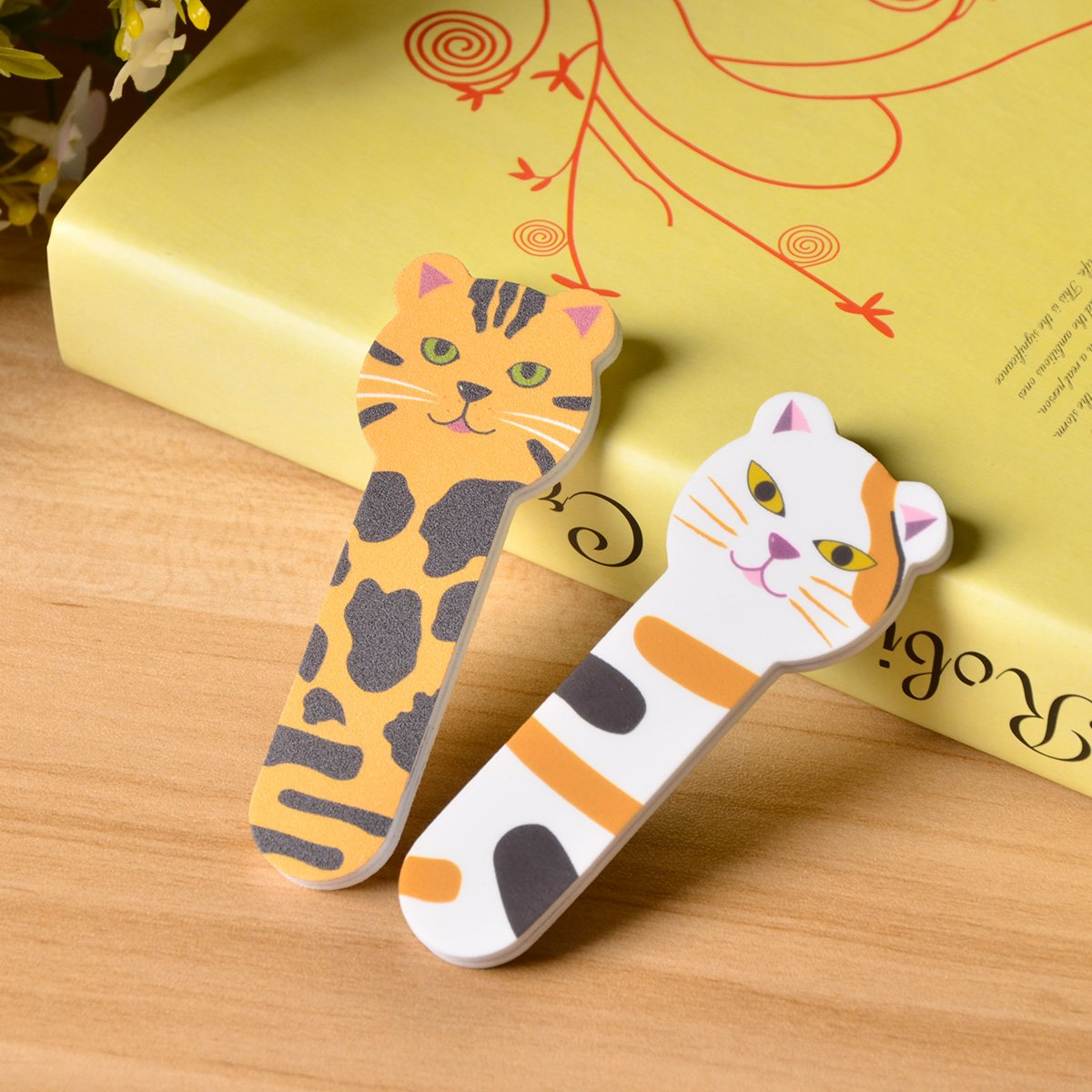 Professional Nail File set and Nail Buffer Cosmetic Manicure tool, Nail Shiner nail art set with lovely cat image, 2 Pack by MAYCREATE