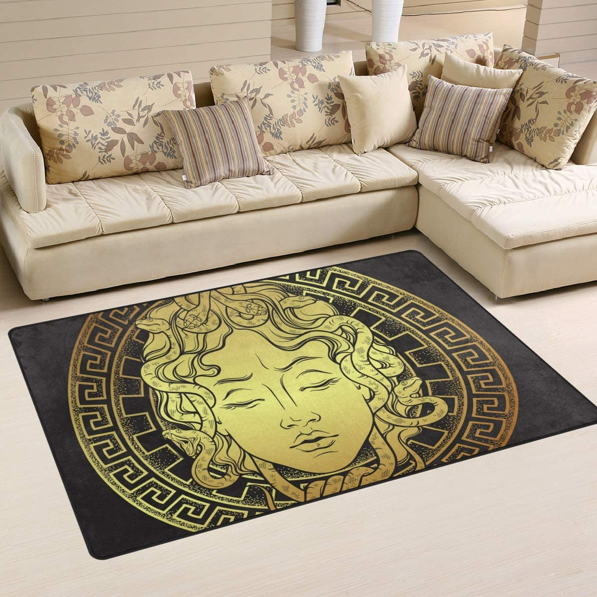 Tarity Area Rugs Gold Medusa Pattern Modern Rectangle Non-Skid Slip Floor Rug 60 x 39 Indoor Room Decorative Rugs Carpet for Living Room Bedroom Playing Room