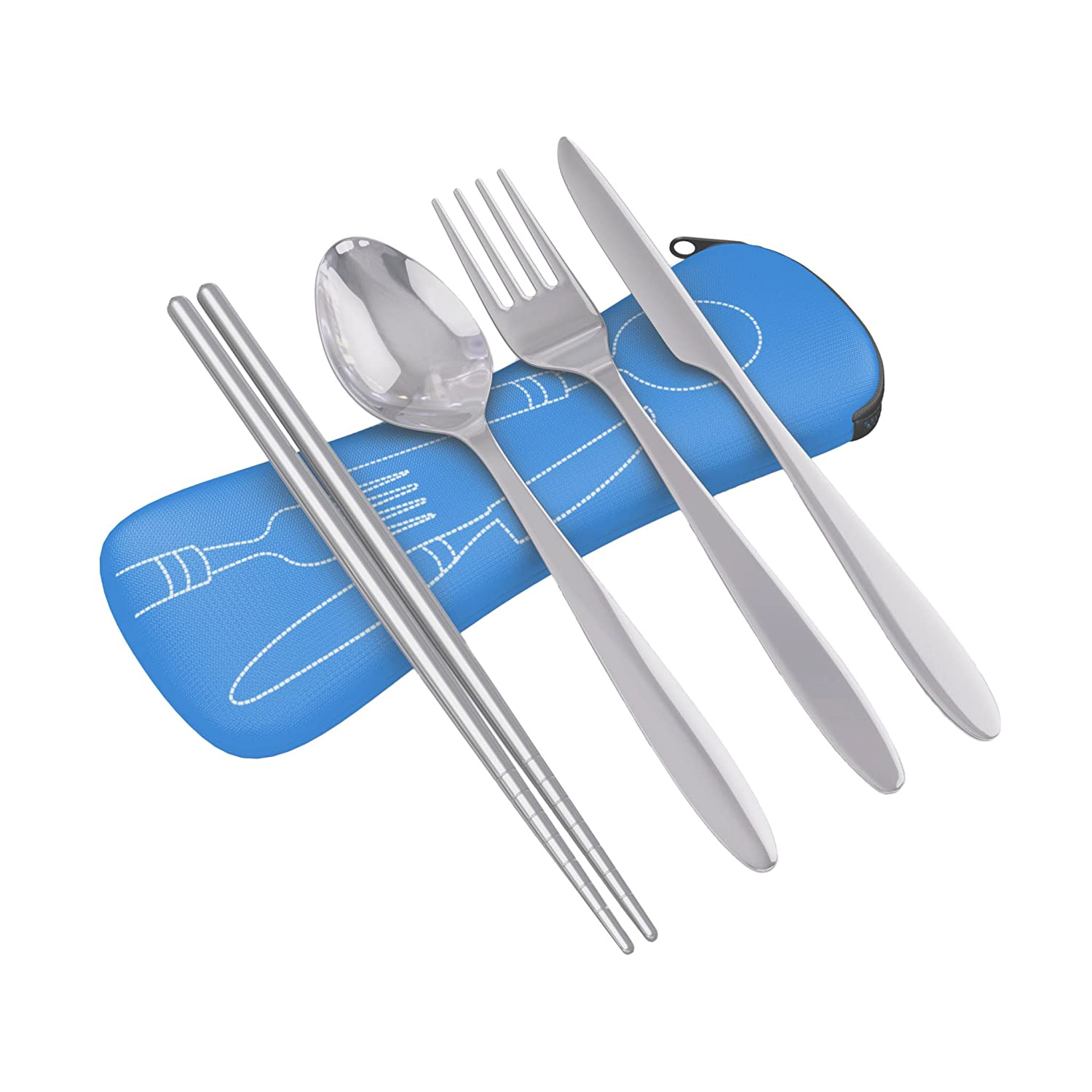 4 Piece Stainless Steel (Knife, Fork, Spoon, Chopsticks) Lightweight, Travel / Camping Cutlery Set with Neoprene Case Roaming Cooking