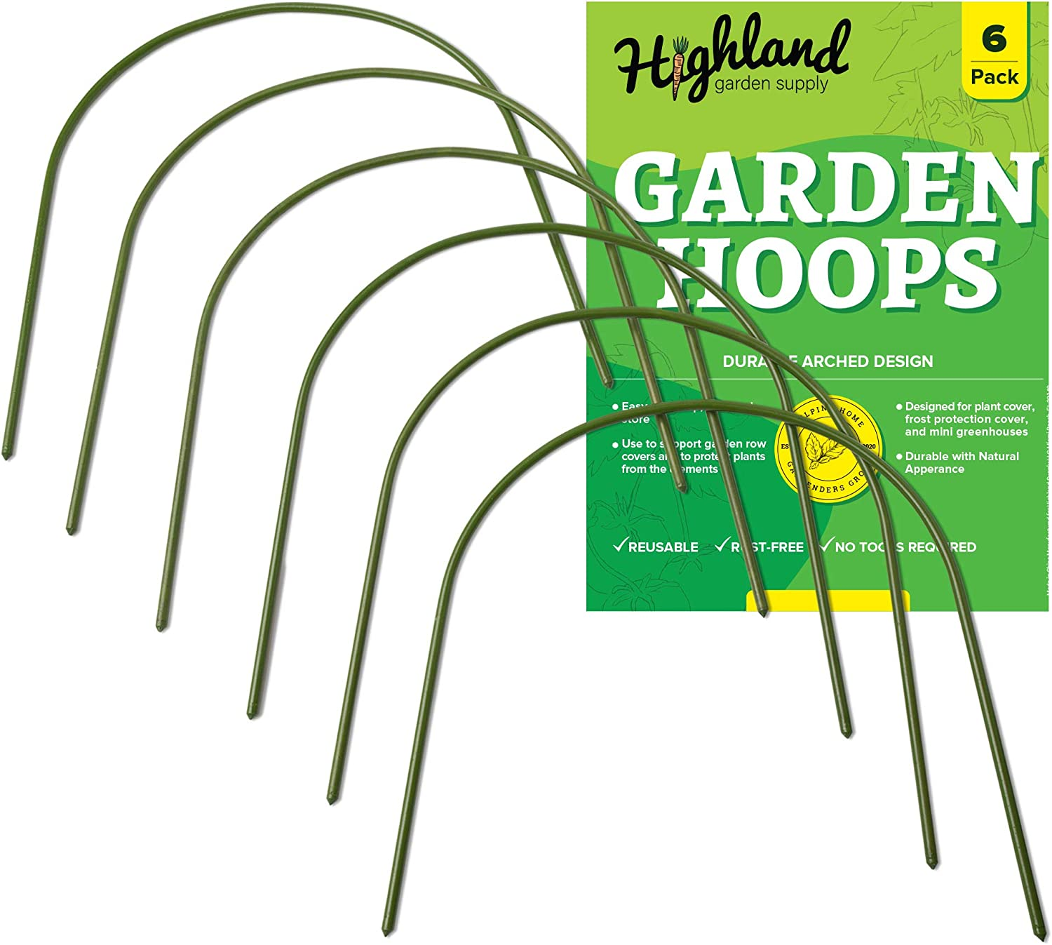 """6 Pack Garden Hoops Raised Bed Stakes for Plant Support Greenhouse Row Cover (20"""" W x 19"""" H)"""