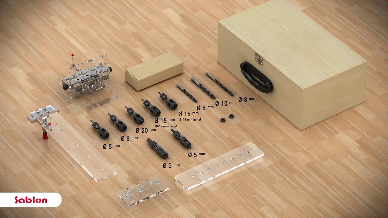 "Sablon Adjustable Minifix/Rafix & Shelving & Dowel Jig Set for 3/4"" (18-19mm) and 5/8"" (15-16mm) Panels"