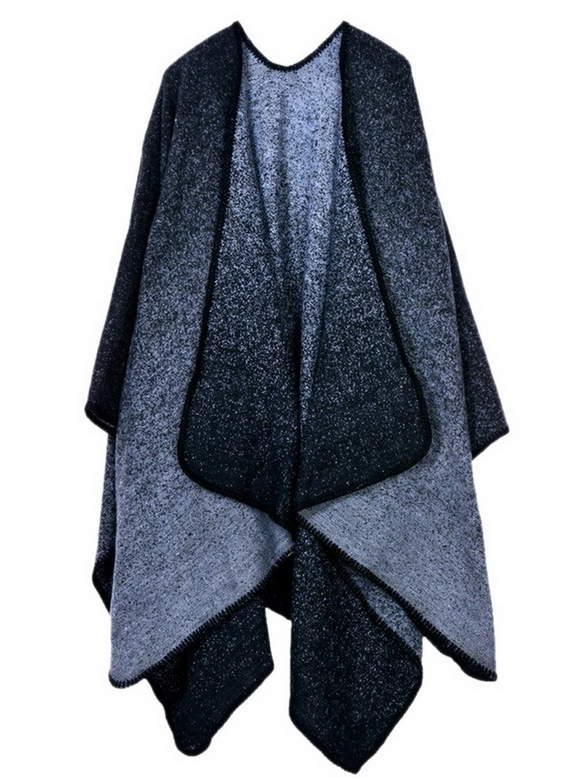 CDM product Women Winter Knitted Cashmere Deversible Poncho Capes Shawl Cardigans big image