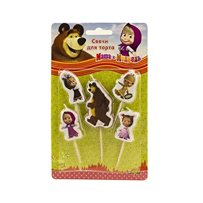 Holiday Set of 5 Figures of Candles Masha and the Bear an Excellent Offer for a Birthday Cake Topper Party Supplies Masha y el Oso: Toys & Games