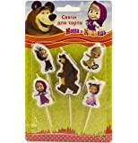 Holiday Set of 5 Figures of Candles Masha and the Bear an Excellent Offer for a Birthday Cake Topper Party Supplies Masha y el Oso