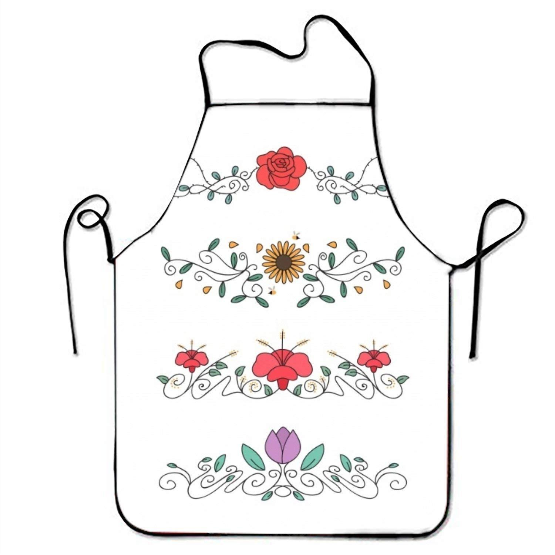 のセットHand Drawn Floral Ornamentsキッチン料理エプロン女性と男性用調節可能なネックストラップレストランホームキッチンエプロンBib for、料理BBQ   B07FTMBWKL