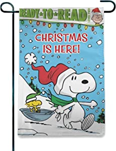 "WOMFUI Snoopy Ski Garden Flag Christmas Double-Sided Flag Snoopy Flag for Garden Lawn Balcony | 12.5"" x 18"""
