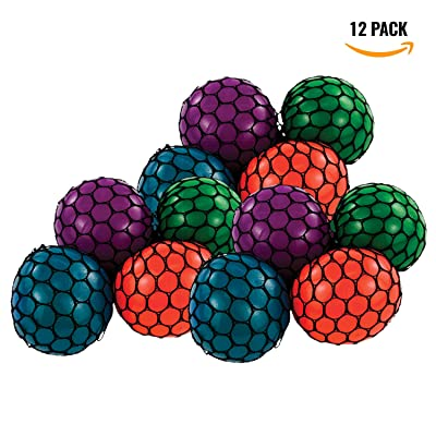 12 Pack ! Mesh Squashy Squeeze Grape Balls - Stress Relief Balls Assorted Neon Colors - By Bedwina
