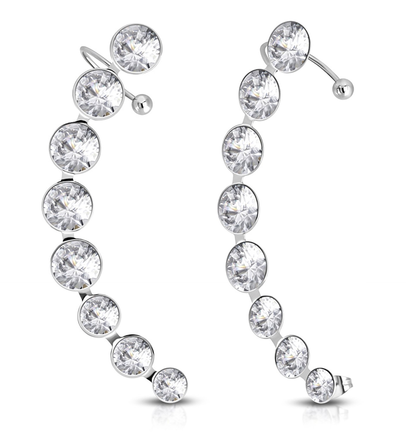 Best Wing Jewelry Stainless Steel ''White Clear Crystals'' Ear Cuff Wrap Cartilage Clip on Piercing Stud Earrings