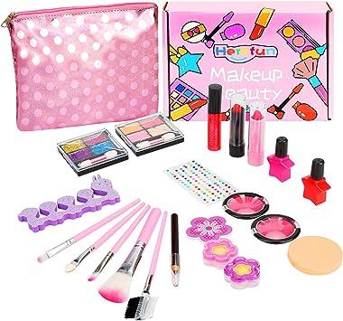 Herefun Kit de Maquillaje Niñas, 21 Piezas Juego de Maquillaje para Niños para Niñas, Kit de Juguete de Maquillaje Lavable, Cumpleaños Regalo de Princesa para Niñas en Fiesta: Amazon.es: Juguetes y juegos