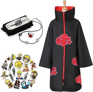 Amazon Com Naruto Long Robe Halloween Cosplay Costume Akatsuki Cloak Headband Necklace Ring Clothing