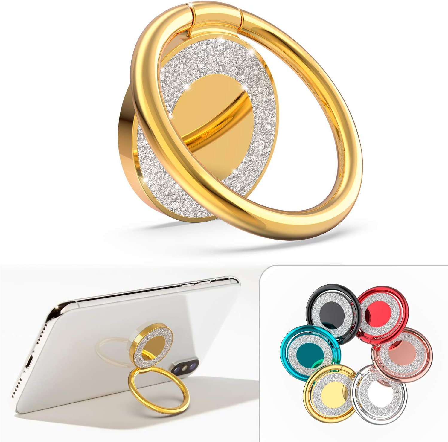 Phone Ring Holder Finger Kickstand, Allengel Bling Metal Phone Ring Grip Stand for Strongly Magnetic Car Mount Compatible with iPhone/Samsung/LG/Sony/HTC, Gold