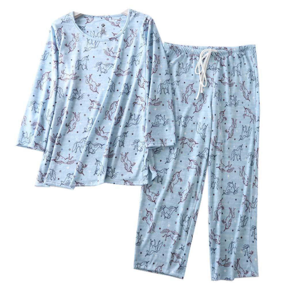 ENJOYNIGHT Women's Cotton Pajamas Set 3/4 Sleeve Top & Pants Sleepwear Set Super Soft Loungwear (Horse, Medium).