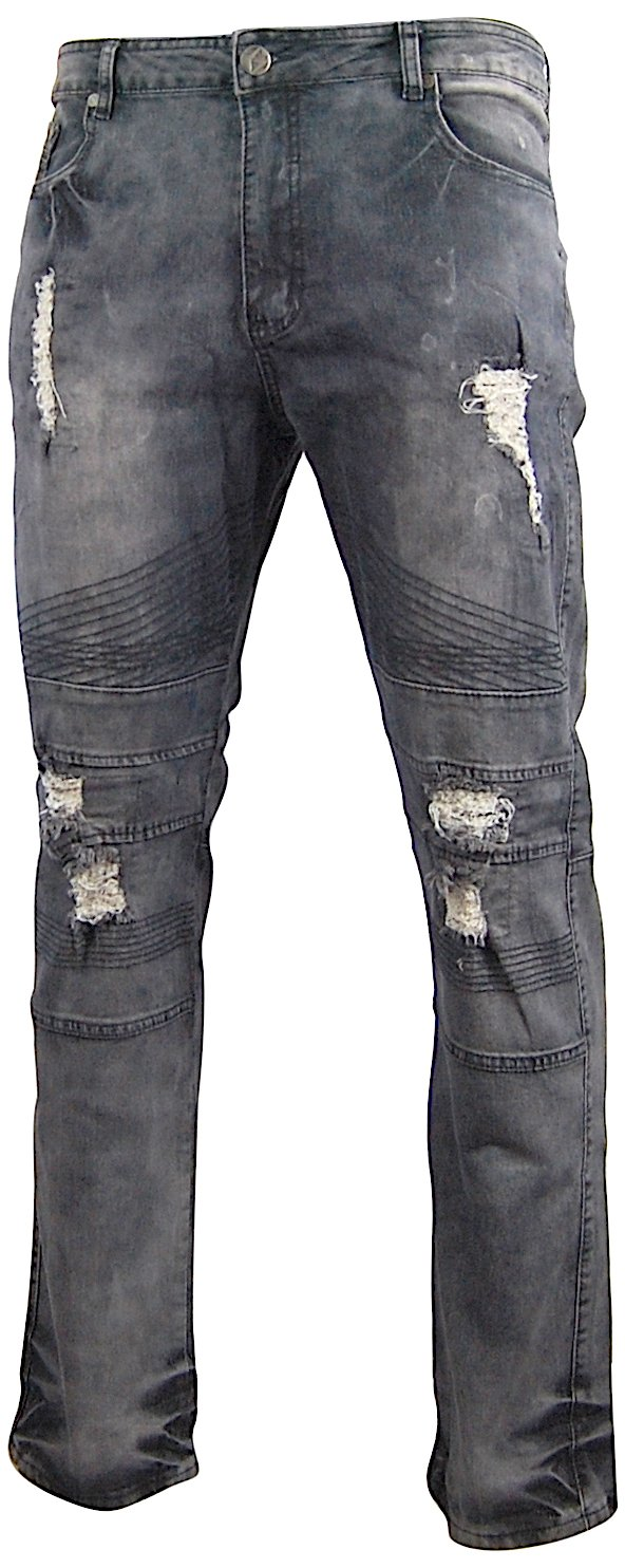 G-Net Ripped and Distressed Biker Jeans For Men; Destroyed Pants With Holes; Soft-Washed Stretch (38x32, Grey)