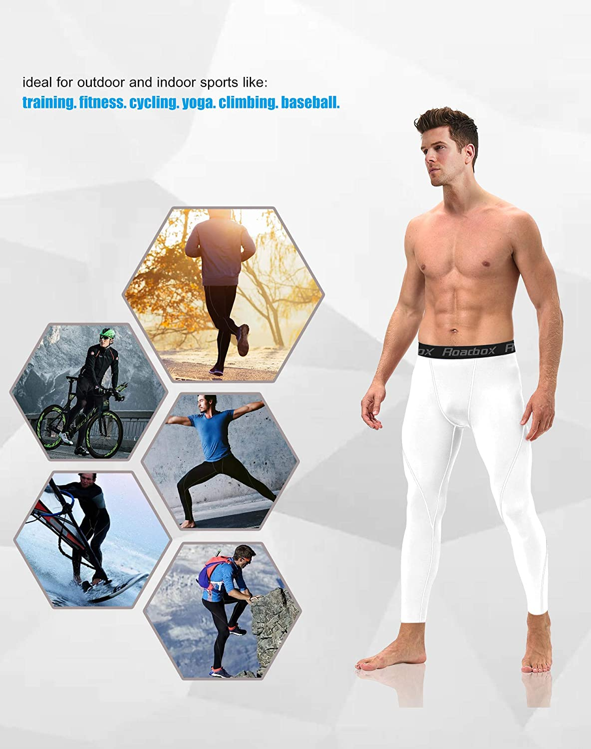 Workout Warm Dry Cool Sports Leggings Tights Baselayer Roadbox Men/'s Compression Pants 2 Pack