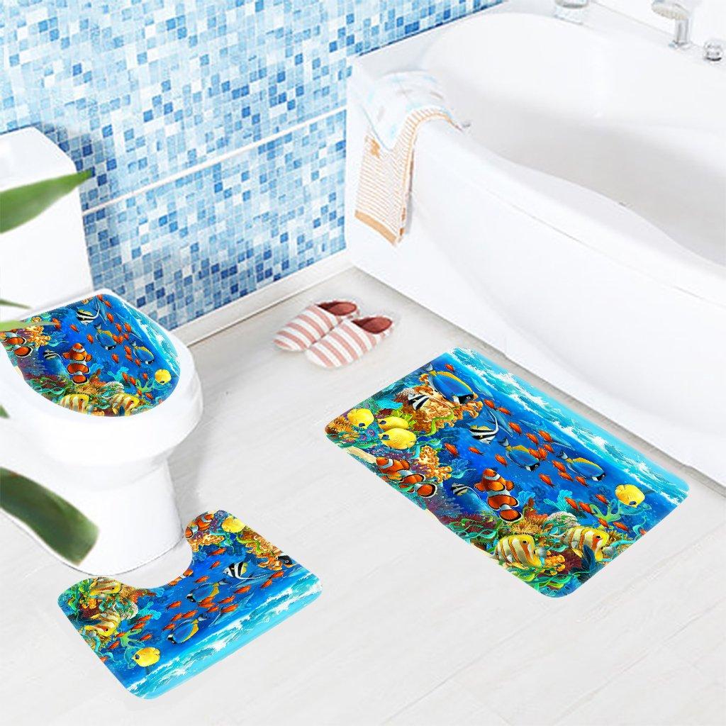 Amazon.com: Wondertify Bath Mat,Underwater,Ocean Tropical Fish Coral ...