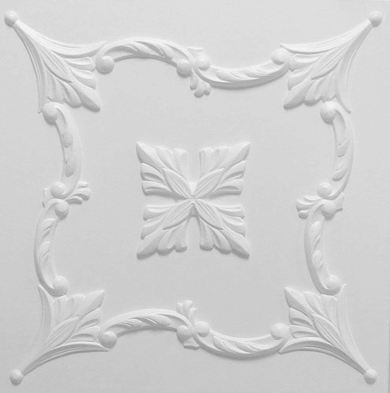 Azulejos de techo de poliestireno laminato Flower ( paquete de 44 pc / 11 metros cuadrados ) Blanco Kaseton