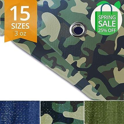 12 x 16 6 oz//Sq Yd Green Ground Tent Trailer Cover Tarps Medium Duty Waterproof Large Tarpaulin in Multiple Sizes