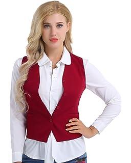 3dd0315290f256 Tiaobug Damen Weste Anzugweste in rot, schwarz ärmellose taillenlange Jacke  Basic Klassisch Modisch Business Westen